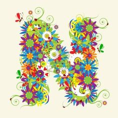 Letter N, floral design. See also letters in my gallery Stock Photo
