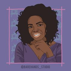 """OPRAH WINFREY Powerful Women Series No.8  Oprah Winfrey, the mother of talk show. I grew up watching Oprah on TV with my mum. We cried together, laughed together and learned together. Oprah Winfrey's story is one of strength, courage and determination. """"Oprah Winfrey moved to Chicago, Illinois, in January 1984 and took over as anchor on A.M. Chicago, a morning talk show that was consistently last in the ratings. She changed the emphasis of the show from traditional women's issues to current… Moving To Chicago, S Stories, Chicago Illinois, Oprah Winfrey, Powerful Women, Determination, Girl Power, Growing Up, Anchor"""