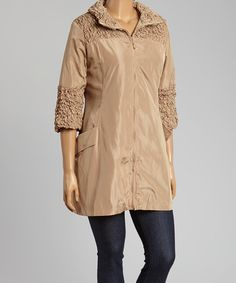 Look what I found on #zulily! Tan Zip Funnel-Collar Jacket - Plus #zulilyfinds