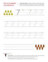 Kindergarten worksheets - Tracing numbers - 7