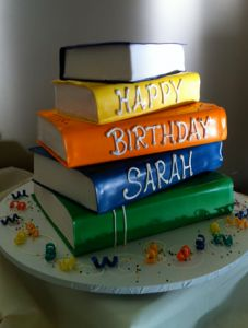 Great birthday cake idea for a book lover. My nephew loves to read and this cake gives me a great idea on how to make him a one of a kind awesome cake. He'll love it.