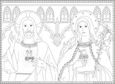 Sacred Heart of Jesus and Immaculate Heart of Mary coloring page