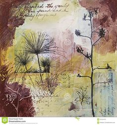 Mixed Media Abstract Painting With Seedheads Stock Photos - Image ...