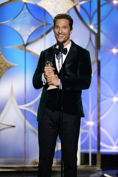 """This image released by NBC shows Matthew McConaughey accepting the award for best actor in a motion picture drama for his role in """"Dallas Buyers Club"""" during the 71st annual Golden Globe Awards at the Beverly Hilton Hotel on Sunday, Jan. 12, 2014, in Beverly Hills"""