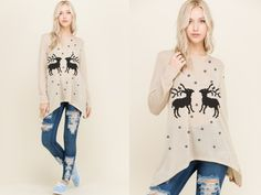 """Reindeer Pattern Top - Only $13 after 60% code!  Use: """"HOLIDAYS"""" at Checkout!  Get it now at #Threadlust.com 