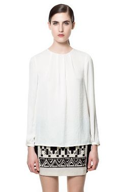 PLEATED BLOUSE - Tops - Woman   ZARA United States