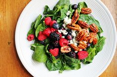Mixed Berry + Spinach Salad