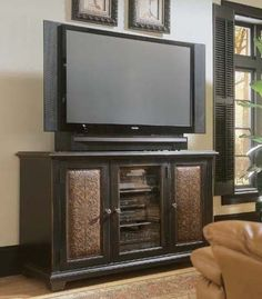 Shop for Hooker Furniture Telluride Plasma Console - Black w/Leather, and other Home Entertainment TV Stands at Moores Fine Furniture in Pottstown and Chester Springs, PA. Entertainment Center Furniture, Home Entertainment Centers, 60 Tv Stand, Cool Tv Stands, Glass Center, Furniture Catalog, Hooker Furniture, Unique Furniture, Kitchen Furniture