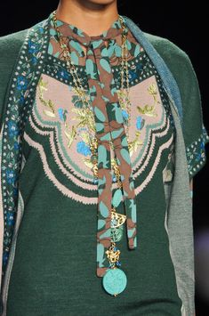 Anna Sui Fall 2014 - beautiful textures and layers of color. details.