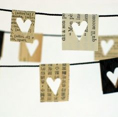 Cute and again cheap to make. Love the idea of using newspapers/book text, keeps it a nice muted colour and not too pretty.