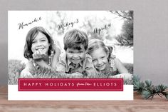 Holiday / Christmas photo card that lets you type in your kids' names and ages! Modern Archive Holiday Photo Cards (available in black, navy, gold, wine) designed by Sarah Curry at minted.com