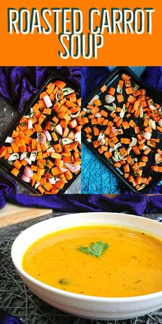 easy and healthy soup recipe - A healthy and comforting soup – roasted carrot soup. This a simple soup with few ingredients. Healthy Soup Recipes, Veg Recipes, Side Recipes, Organic Recipes, Vegetarian Recipes, Carrot Soup Easy, Roasted Carrot Soup, Roasted Carrots, Indian Beef Recipes