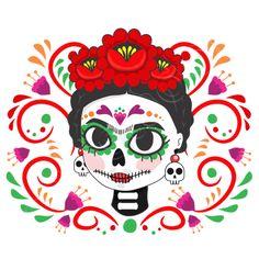 Halloween Tags, Halloween Stickers, Arte Disney, Disney Art, Fall Crafts For Kids, Art For Kids, Frida Kahlo Party Decoration, Art Hub, Sugar Skull Art