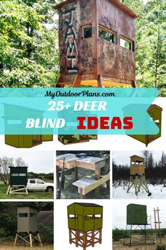 A collection of over 25 free deer blind ideas and plans, for you to build a sturdy structure and save tons of money. The design ideas come with step by step instructions, diagrams and a full cut / shopping list. PDF download and Print friendly. #deerblind #derstand #deerhunting Coyote Hunting, Archery Hunting, Pheasant Hunting, Deer Box Stands, Deer Blind Plans, Saltwater Fishing, Kayak Fishing, Small Deer, Deer Camp