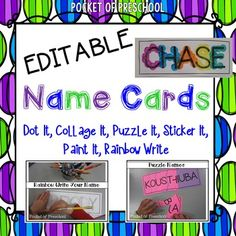 FREE Names cards (EDITABLE) make learning your name and the letters in your name fun and interactive.