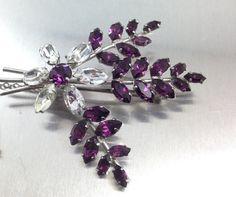 Sparkly Vintage Spray Purple Rhinestone Brooch by TheOldJunkTrunk