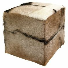 "Goat hide upholstered stool with a teak wood frame.  Product: StoolConstruction Material: Teakwood and goat hideColor: Natural    Dimensions: 17"" H x 15.75"" W x 15.75"" D"