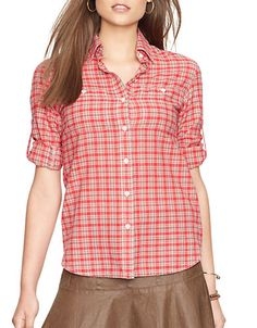 Brands | Blouses & Button-Downs | Petite Plaid Button-Down Shirt | Lord and Taylor
