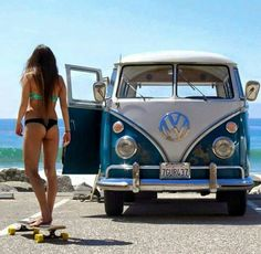 Volkswagon Van :: VDUB :: VW bus :: Volkswagen Camper :: The perfect vintage travel companion for the beach, surf, camping + summer road trips :: Free your Wild :: See more van travel style & inspiration Bus Vw, Volkswagen Transporter, Vw Camper, Vw Caravan, Vw T1, Campers, Volkswagen Vehicles, Kombi Pick Up, Combi Ww