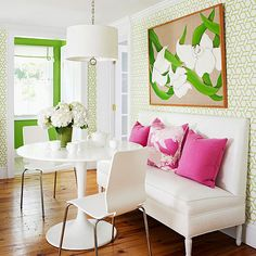 Pink and Lime green dining nook