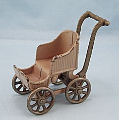 Dollhouse Accessories   Kilgore T-84 – Toy Baby Carriage / Stroller – Tan
