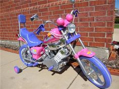 Here is something you don't see everyday! Pink Harley Davidson Motorcycle | Pink Girls Power Ride on Motorcycle Wheels Kids 6v Harley ...