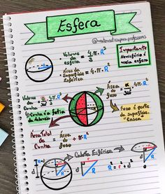 📚📝✍️ Geometria Espacial - Esfera 📚✍️📝 Principais fórmulas relacionadas à esfera❗️❗️❗️ . . . #enem #enem2018 #enem2019 #matematica… Mental Map, Learning Cards, Study Organization, Math About Me, Study Planner, School Notes, Study Inspiration, Studyblr, School Hacks