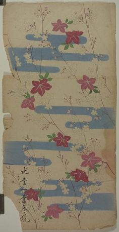 These beautiful prints are salesman's samples of kimono cloth designs. Salespeople would bring these pieces to kimono makers in order to showcase the different