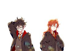 I think the anime drawing style is cute. If you know the artist please let me know and I will credit them! Fanart Harry Potter, Harry Potter Couples, Harry Potter Artwork, Mundo Harry Potter, Harry Potter Images, Harry Potter Universal, Harry Potter Fandom, Harry Potter Hogwarts, Lily Potter