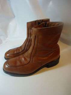 VINTAGE Men's Steel Toe Zippered Ankle Work Boots USA MADE!-Brown Leather-8.5 3E #LightTread #WorkSafety