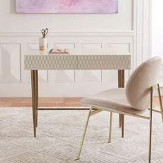 Buy west elm Audrey Mini Desk, Parchment from our Office Desks range at John Lewis & Partners. Small Furniture, Modern Furniture, Home Furniture, Cheap Furniture, Office Furniture, Furniture Design, Furniture Cleaning, Kitchen Furniture, Ikea