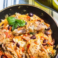 Chicken Provencal with olives and tomatoes. A one-pan, French dinner recipe via MonPetitFour.com