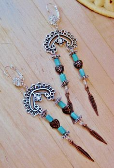 COWGIRL STYLE EARRINGS Copper Feather Charm & Heart Beads with Aqua Raku on Antique Silver Chandelier and Rhinestone Western Earrings $35