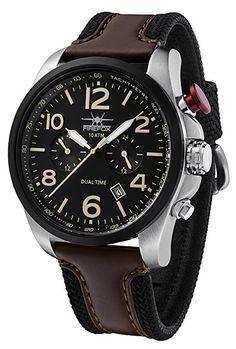 Fire Fox Horizon ffs305 – 102L Dual Time vd31 Reloj de hombre acero inoxidable reloj de pulsera 10 ATM impermeable segunda Tiempo Zona pulsera de piel con hebilla Esfera Negro