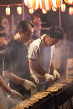 Grilling some yakitori at a Japanese festival. Yum!