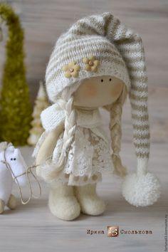 Купить текстильная куколка Полинка - бежевый, кукла, текстильная кукла, кукла текстильная, кукла интерьерная