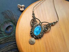 Labradorite macrame necklace. Bohemian jewelry. Boho chic.