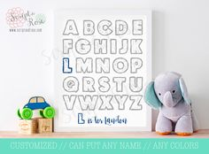 Printable Quote Art -- sign -- ABC name // personalized // children wall art // nursery wall art // alphabet // kids name // 8x10 by ScriptandRose on Etsy https://www.etsy.com/listing/204383171/printable-quote-art-sign-abc-name