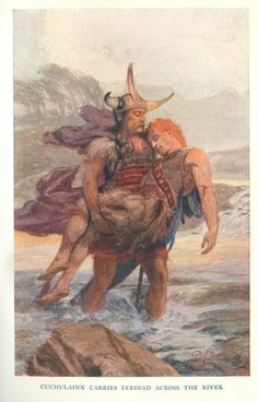 Cuchulainn Carries Ferdia Across the River (1905) by E. Wallcousins. Click on the picture to be redirected to a 1904 translation of Táin Bó Cúailnge by L. Winifred Faraday on sacred-texts.com