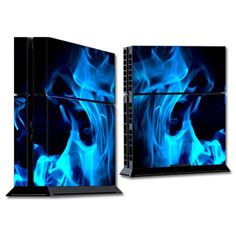 Protective Vinyl Skin Decal Cover for Playstation 4 Console Sticker Skins Blue Flames.