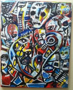 "original art 16""x20""  acrylic on canvas, abstract walking dead zombie faces"