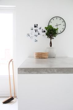 Concrete benchtop and white carcass
