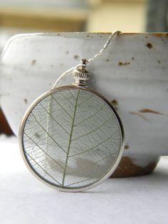 Memories of Spring... Springtime Keepsake, Green Leaf Necklace, Firefly Gardens on Etsy, $20.00