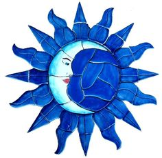 Mexican Tile / Lomeli Mosaic-Eclipce-3 - Sun and Moon - Swimming ...