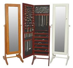 Organizing & Decluttering: Hide Your Jewelry Behind a Mirror. Freestanding mirror jewelry cabinet!!