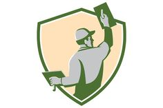 Plasterer Masonry Trowel Shield Retr Graphics Illustration of a plasterer masonry tradesman construction worker with trowel viewed from the back s by patrimonio Plastering Tools, Construction Worker, Flyer Design Templates, House Roof, Graphic Illustration, Retro Illustrations, Tool Design, Graphic Design, Logos