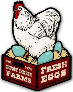 $35.97 Vintage-Retro Chicken Fresh Eggs Metal-Tin Sign 14 x 18 inches   This Chicken Fresh Eggs custom Metal-Tin shape measures 14 inches by 18 inches and weighs in at 3 lb(s). This custom Metal-Tin shape is hand made in the USA using heavy gauge American steel and a process known as sublimation, where the image is baked into a powder coating for a durable and long lasting finish. This custom Metal-Tin shape is drilled and riveted for easy hanging.
