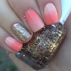 OMBRE CORAL & GOLD NAILS. These go together well but I might have used silver instead of gold.