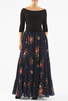I <3 this Floral print georgette tiered maxi skirt from eShakti