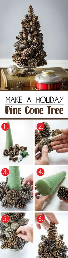 Simple Holiday Pinecone Tree On A Pedestal | Christmas DIY | Winter Decor | Nature Inspired | Natural Design | Mantel | Centerpiece | Table Diy car-->> | https://tpv.sr/1QoBqBn/